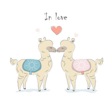 Cute Alpaca Couple. Hand Drawn Delicate Design for cards, decorations, etc. Scandinavian Style. Vector Illustration