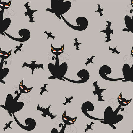 Seamless pattern of Halloween cats and bats in black, traditional orange background. Good for textile print, web, paper, wrapping, fabric, backgrounds, cards, postcards, page fill.