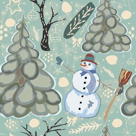 かわいい雪だるまとトウヒの木とカラフルなシームレス冬のパターン。ベクターイラスト 写真素材