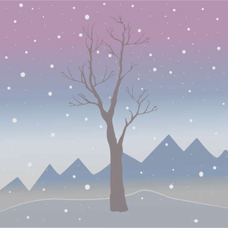 Winter Tree on a cold looking background with mountains and snowy sky. Season Nature. Snowy Natural Landscape. Cozy Winter Accent. Vector Illustration. Stock Photo
