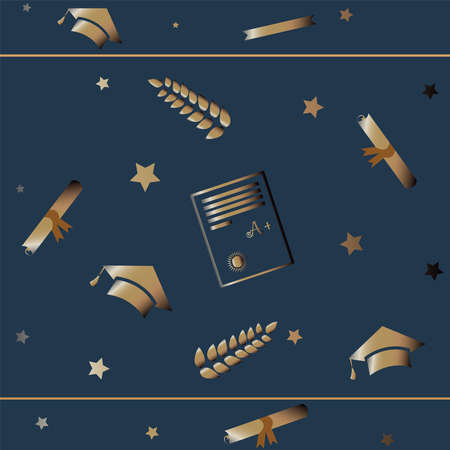 Cute Graduation Background with golden graduation elements and stars on subtle background. Education Theme. Vector Illustration
