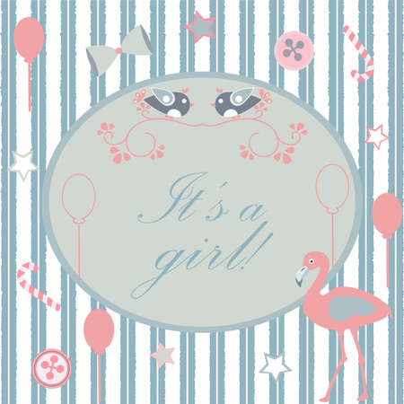 Its a girl announcement. Baby Shower Collection. Vector Illustration.