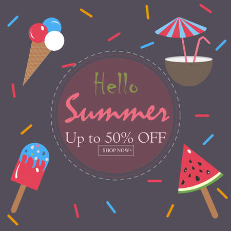 Hello Summer Holiday Card. Up To 50% Off. Shop Now. Vector Illustration