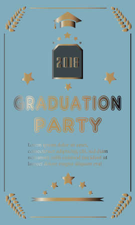 Graduation Ceremony Ananouncement with golden text. Vector Illustration Stok Fotoğraf