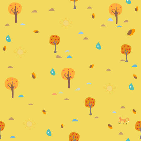 Cute Autumn Pattern with small trees on modern dotted background. Vector Illustration