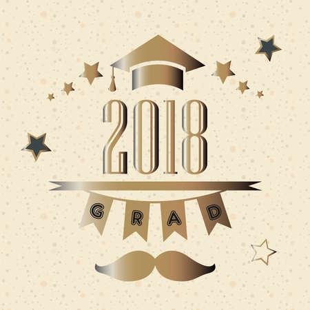 Afstudeerklas van het jaar 2018 in goud. Vector illustratie Stockfoto