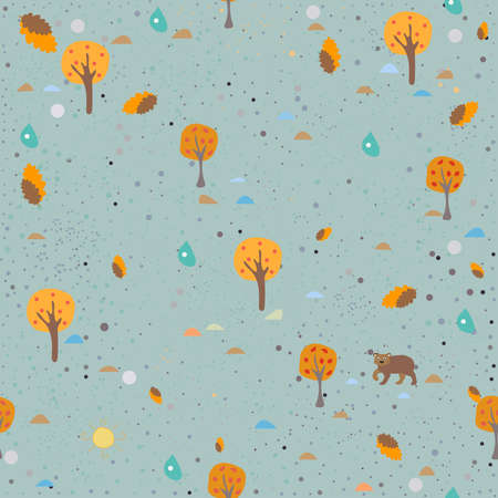 Seamless Pattern with beautiful trees. Vector Illustration Stock Photo