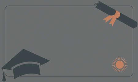 毕业文凭和盖帽在纸背景。复古风格。从复古毕业集合。矢量图。
