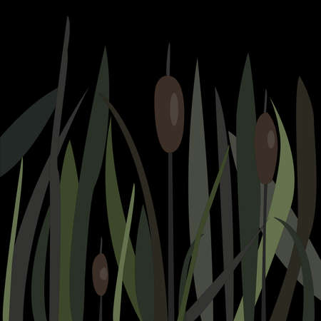 Bush of Swamp Reed on a Lake. vector Illustration Stock Illustration - 89822969