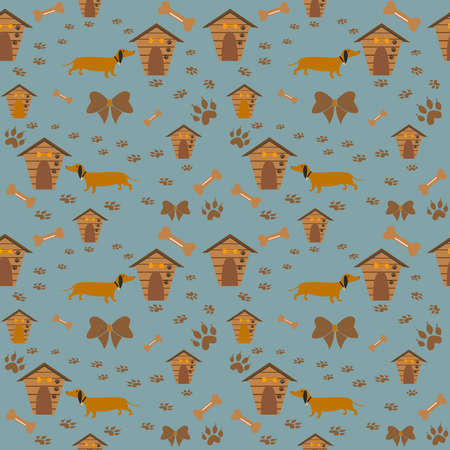 Cute Pattern with dog, dog paws and dog houses. Vector Illustration