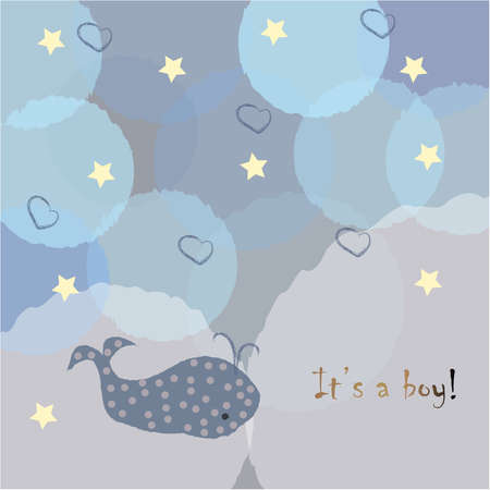 Its a boy Congratulations card with stars and bubbles. Baby Shower Theme. Vector Illustration