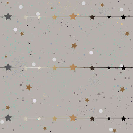 Cute Frame with golden stars on stripes on modern grey background. Vector Illustration Stock Photo