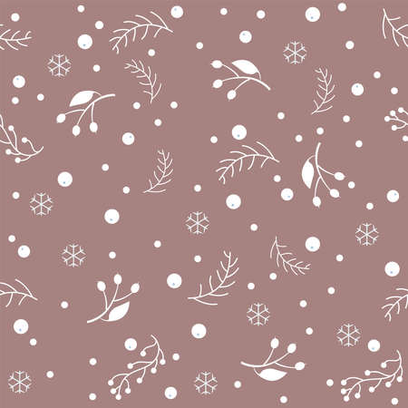 Winter Seamless Pattern on subtle background. .Great for wedding cards, postcards, t-shirts, bridal invitations, brochures, posters, gift wrapping, wall art, wallpapers, etc.Vector Illustration. Stok Fotoğraf