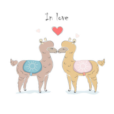 Cute Alpaca couple for Valentines day and love cards Illustration