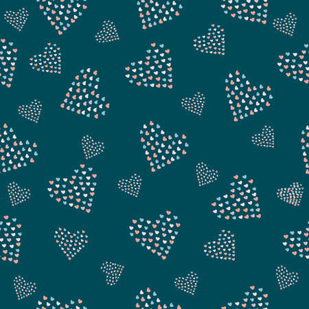 Cute hand drawn pattern with grouped small hearts into bigger hearts. Vector Illustration Banco de Imagens