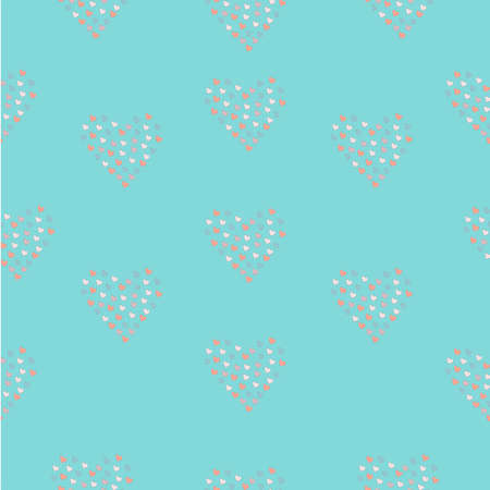 Seamless Simple Pattern with little hand drawn hearts on teal background. Scandinavian Style. Seamless Texture. Mosaic, hearts shaped into hearts. Vector Illustration Stock Photo