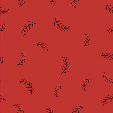 Seamless pattern with spruce branches on bright background. Vector illustration. Stok Fotoğraf