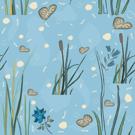 Seamless repeating pattern with lake reed. Hand drawn design. Vector Illustration