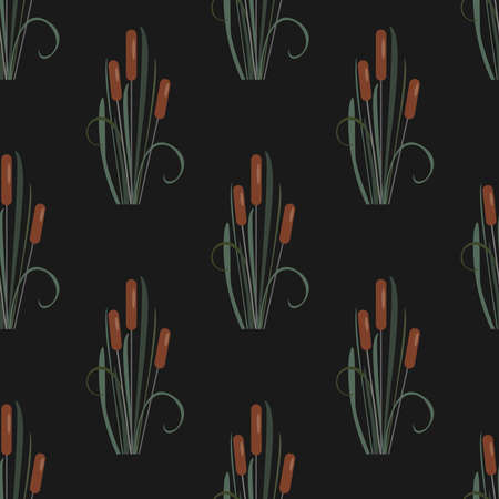 Seamless Pattern with reed on black. Vector Illustration Stock Photo