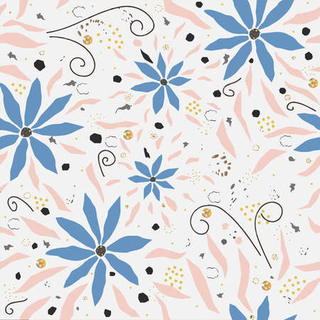 Seamless Floral Pattern with hand drawn flowers, on background with dots and splatters.
