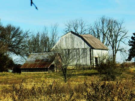 Barn and shed on farm Фото со стока