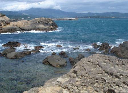 Beach in northern Taiwan coast with fantastic rock erosions, YeLiu, Taiwa           Stock Photo