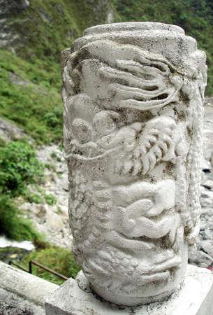 Stone column at Temple of Taroko National Park in Hua-Lian, Taiwan