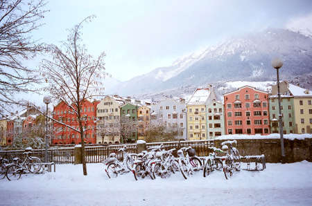 Colourful houses in winter at Innsbruck, Austria