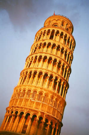 Leaning Tower of Pisa in sunset, Italy Stock Photo