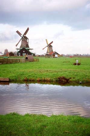 Zaanse Schans Windmill Park near Amsterdam in The Netherlands Stock Photo