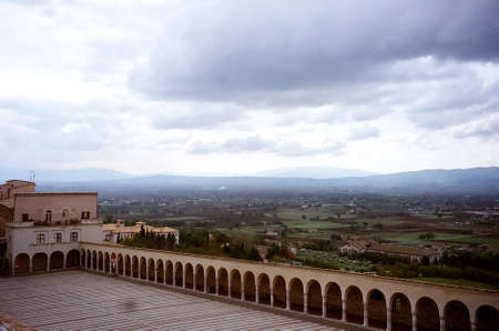 st  francis: Lower plaza at Basilica of St. Francis, Assisi, Italy Stock Photo