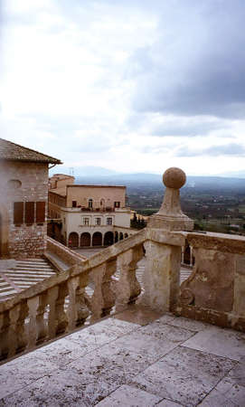 Lower plaza at Basilica of St. Francis, Assisi, Italy Stock Photo
