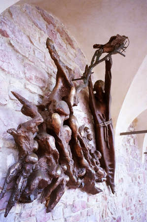 st  francis: Art piece on the wall at Basilica of St. Francis, Assisi, Italy