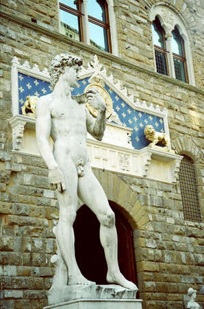 Michelangelos David (copy) on Signoria Square, Florence, Italy Stock Photo