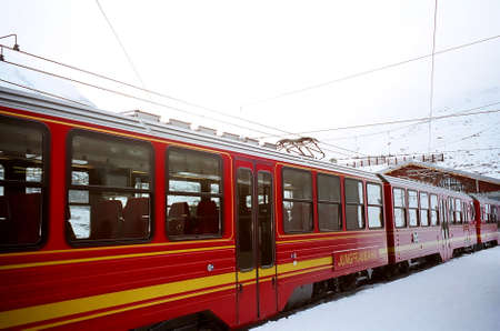 Train at Jungfraujoch- Top of Europe Stock Photo
