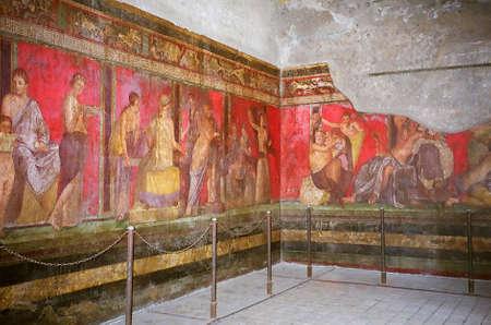 pompeii: Wall paintings in Pompeii, Italy Stock Photo