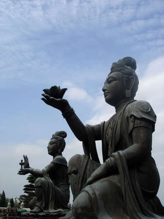 The female celestial statues at Ngong Ping Plateau, Lantau Island, HK                               Stock Photo