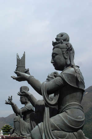 lantau: The female celestial statues at Ngong Ping Plateau, Lantau Island, HK