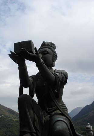 The female celestial statue at Ngong Ping Plateau, Lantau Island, HK                          photo