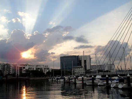 Sunrise at Marina@Keppel Bay, Singapore                           Stock Photo