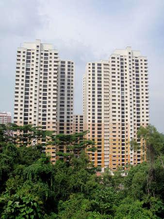 residential housing: Residential housing apartment block in Singapore                                Stock Photo