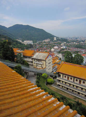 Aerial view of Penang from Kek Lok Si Buddhist temple in the hills above Georgetown, Penang, Malaysia