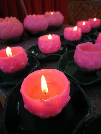 Lotus candles at Wat Chaiyamangkalaram Temple in Penang, Malaysi                            photo