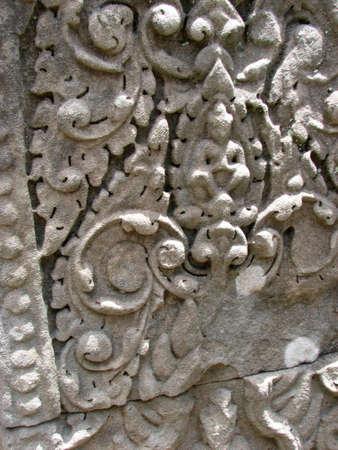 khan: Carved wall at Preah Khan, Angkor, Cambodia