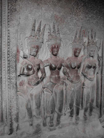 Devatas on the wall of Angkor Wat at Angkor, Cambodia