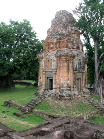 The brick tower of Bakong at Roluos Group, Angkor, Cambodia