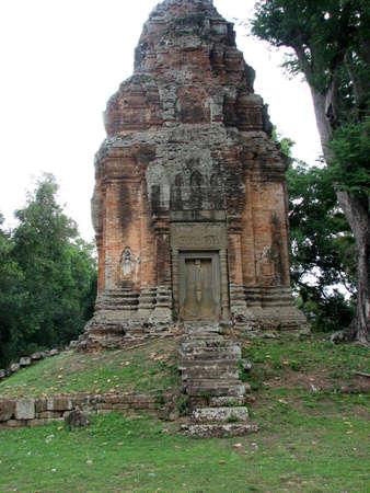 The brick tower of Bakong at Roluos Group, Angkor, Cambodia photo