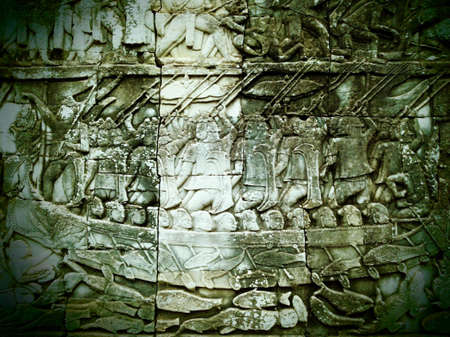 Bas-relief of Bayon at Angkor, Cambodia