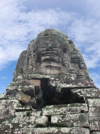 Face towers on the upper terrace of Bayon at Angkor, Cambodia