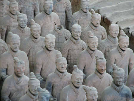 Terracotta warriors stand in battle array at Qin Terracotta Army Museum, Xian